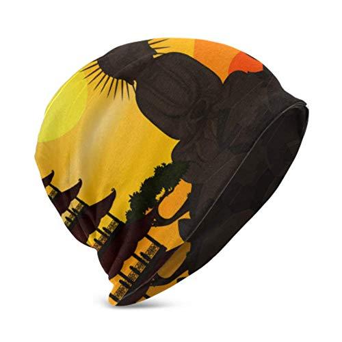 Unisex Beanie Hat Plantilla China cálida y acogedora con Figura de Buda...