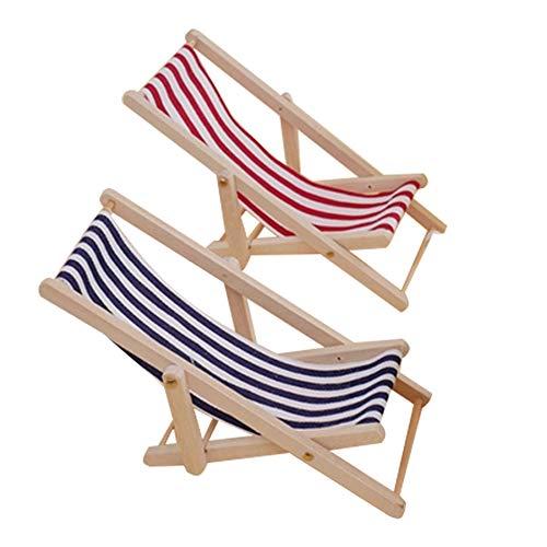 Wankd Miniatur-Strandsessel, 1:12, faltbar, Holz, Strandstuhl, Liegestuhl, Mini-Möbel-Zubehör mit Streifen für drinnen und draußen, 2 Stück