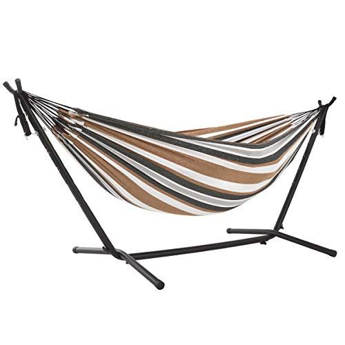 FiNeWaY Portable Swinging Hammock Free Standing Garden Comfortable Swing With Metal Stand Relaxing Swinging Hammock With Carry Bag Perfect for Both Indoors and Outdoors (Natural)