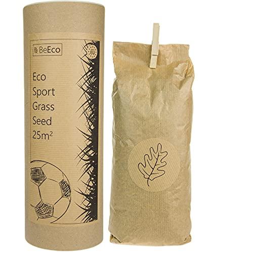 ♻️ BeEco Öko-Grassamen | Sport und Spielrasen Mischung Rasensamen Schnellkeimend 25m² | Perfekt für die Rasensaat Nachsaat | 100% Recyclebar in Einer Pappröhre | Grassamen ohne Pestizide angebaut