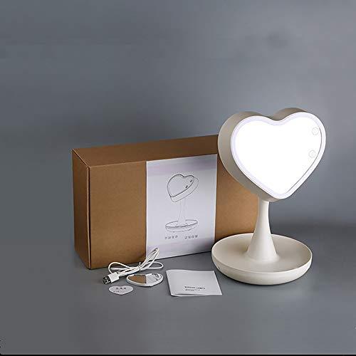 LFK LED de carga en forma de corazón blanco extraíble almacenamiento ABS+ componentes electrónicos + espejo de cristal pequeño lámpara de mesa/espejo de tocador