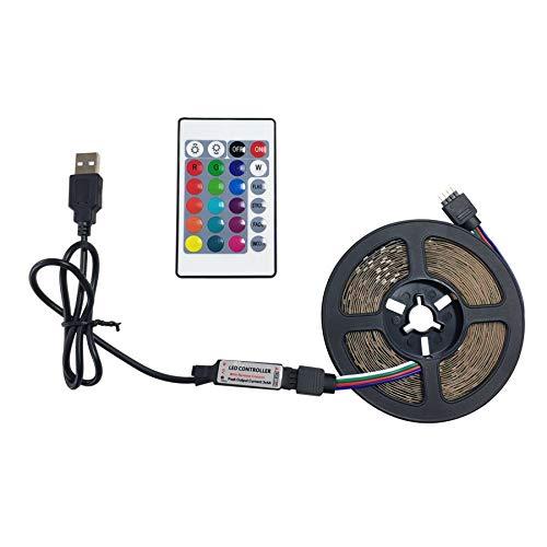 SUNXK USB LED Strip 2.5M DC 12V RGB Lámpara de luz Flexible SMD 2835 24 Teclas Control Remoto Cinta Impermeable Impermeable Cambio de Color Luces de Cinta