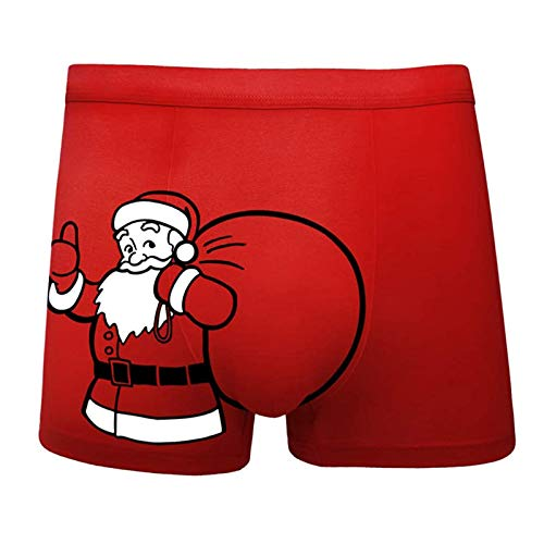 Men's Christmas Underwear,Humorous Boxers,Fun Boxers,Soft Cotton Stretch No Ride up Boxer for Men Red