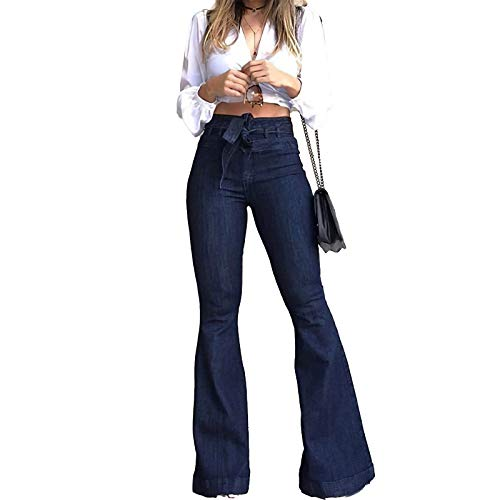 Pantete Womens High Waisted Bell Bottom Jeans Denim High Rise Flare Jean Pants with Wide Leg and Belt Blue