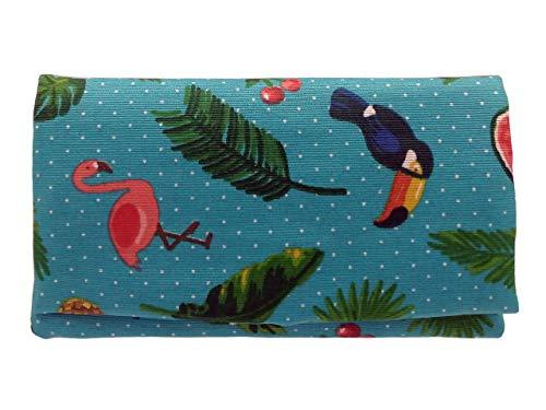 Plan B, Zigarettenetuis Tabak Rollen, Yolo Tropisch, 16 x 8,50 cm, 50 g, mit Eva-Gummi Tasche,Türkisblau mit Pelikanen, Papageien und Blumen