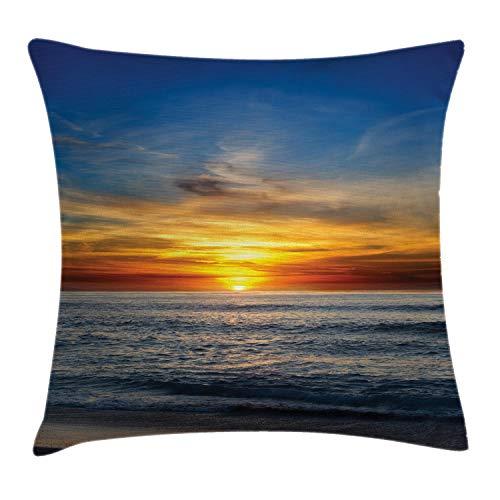 ABAKUHAUS Océan Housse d'oreiller, California Pacific Sunset, en Tissu résistant à la saleté et à l'eau, 45 x 45 cm, Orange Bleu