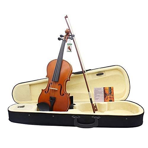 Violino Astuccio in legno massello di abete rosso massiccio a mano 4/4 full violino Custodia di violino in legno massiccio a violino 4/4 pieno lucido Pacchetto principianti violino con accessori Bow C