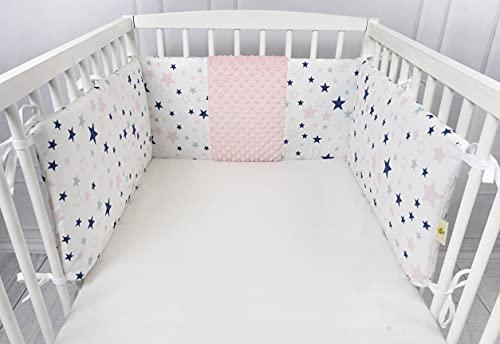 ZOE Zoom Protector para cuna de bebé, con estrellas azules o rosas, 180 x 30 cm, universal para cuna de bebé, 100 % algodón OekoTex, acolchado y desenfundable (rosa)
