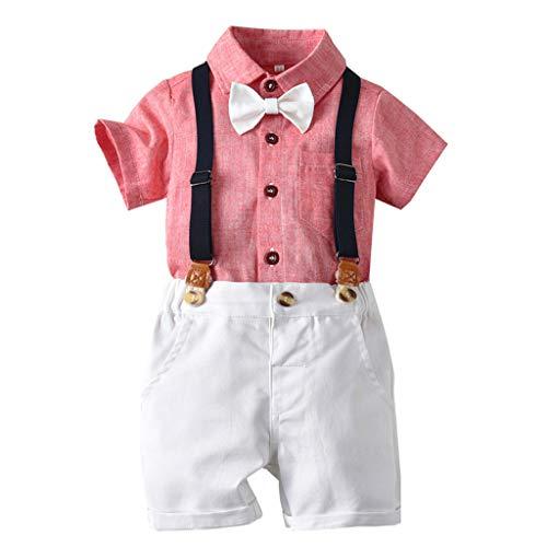 Allence Baby Jungen Bekleidung Set Festliche Kleidung Baumwolle Hemd Hose Hosenträger Taufanzug Gentleman Anzug Fliege Kinderbekleidung (70, Rot1)