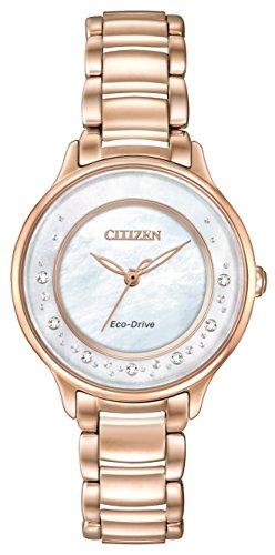 Citizen Circle of Time-Orologio da donna al quarzo Con quadrante in madreperla, Display analogico e cinturino in acciaio INOX color argento placcato in oro rosa, EM 0382-86D