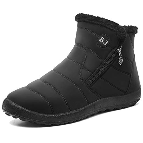 L-RUN Womens Snow Boots Winter Ankle Snow Boots Fur Lined Slip-on Outdoor Black Women_9.5, Men_8 M US