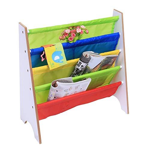 Rehomy Bücherregal aus Holz für Kinder, Spielzeug, Organizer, bunt, Büchervitrine (weißes Holzregal)