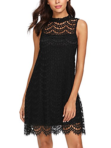 Romwe Women's Lace Sleeveless A Line Elegant Cocktail Evening Party Dress Black L