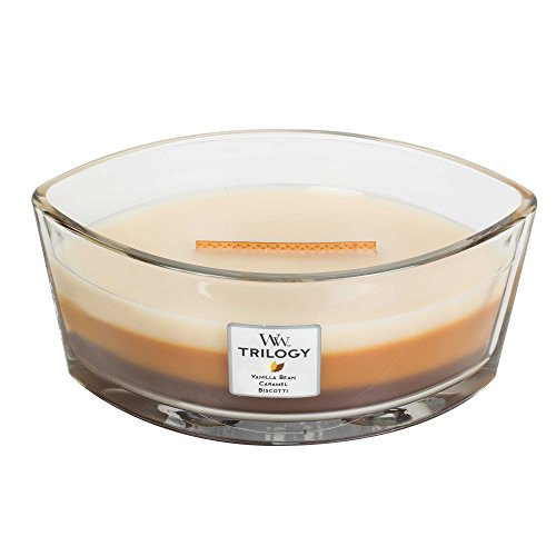 Woodwick CAFE SWEETS New Trilogy Collection HearthWick Flame Large Oval Jar 3-in-1 Scented Candle - 16 Ounces