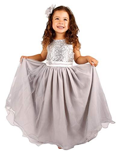Bow Dream Kleid für Mädchen Sequinen Silber 12 Jahre