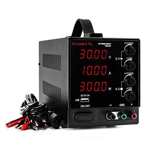 KAIWEETS Labornetzgerät, einstellbar 0-30V/ DC0-10A, DC-Stromversorgung mit USB-Ausgang, 4-stellige LED-Anzeige, Überlast- & Kurzschlussfest (Schwarz)