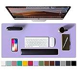 Alfombrilla de escritorio, alfombrilla de ratón, protector de escritorio, papel secante de cuero de PU antideslizante para juegos de oficina/hogar(91cmx43cm,Lavendel)