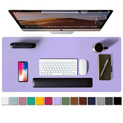 Alfombrilla de escritorio, alfombrilla de ratón, protector de escritorio, papel secante de cuero de PU antideslizante para juegos de oficina/hogar(80cmx40cm,Lavendel)