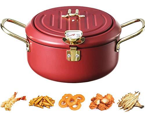 Freidora con termómetro, Mini freidora tempura de acero inoxidable 304 con escurridor de aceites, multifunción Freidora profunda para pollo, papas fritas, pescado, camarones (rojo)