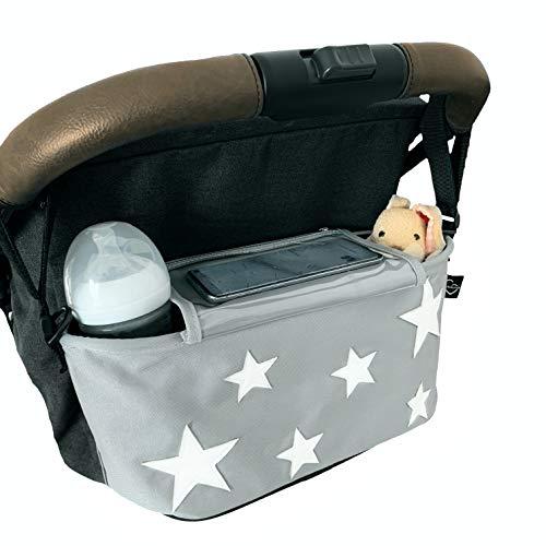Kinderwagen Buggy Organizer Tochscreen Handytasche, Feuchttuchspender, Getränkefächer, Klettbänder, Schultergurt (gray stars/hellgrau)