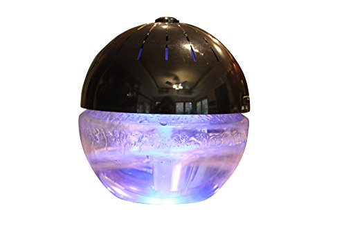 EcoGecko Earth Globe- Glowing Water Air Washer and Revitalizer with Lavender Oil, Black