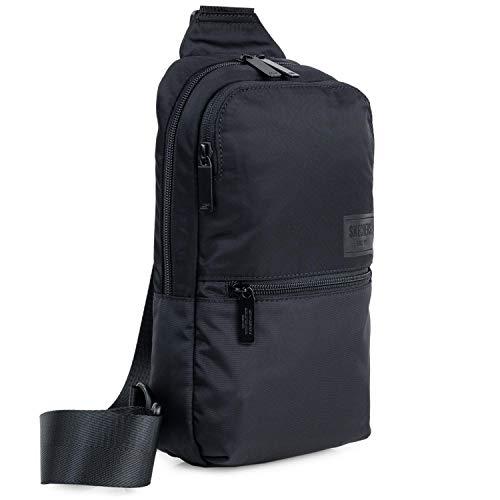 SKECHERS - Bolso Hombre Bandolera CrossBag Pequeño de Material 100% Nylon Resistente - Bolso Cruzado con Cremallera Marca SKECHERS - Uso Casual y Viaje Cross Bag para Móvil S973, Color Negro