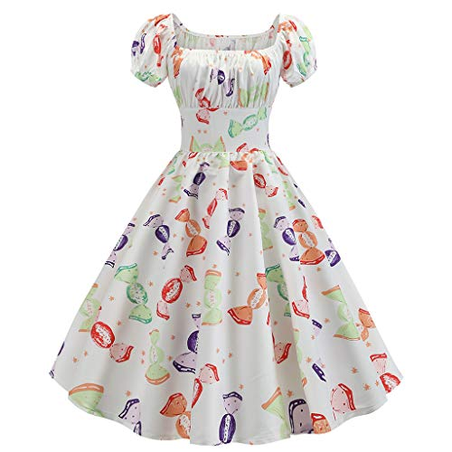 SEWORLD Women Vintage 1950s Casual Retro Short Sleeve Print Evening Party Gown Prom Swing Party Dress White
