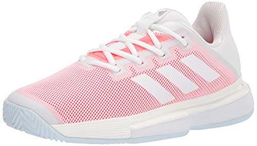 adidas Women's Solematch Bounce Tennis Shoe, White/White/Signal Pink, 11