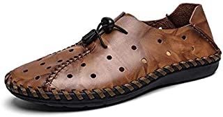 LSWL Summer Hollow All-inclusive Toe Driving Sandals Men Summer Hole Beach Shoes Breathable Lazy Casual Shoes (Color : Brown, Shoe Size : 48)