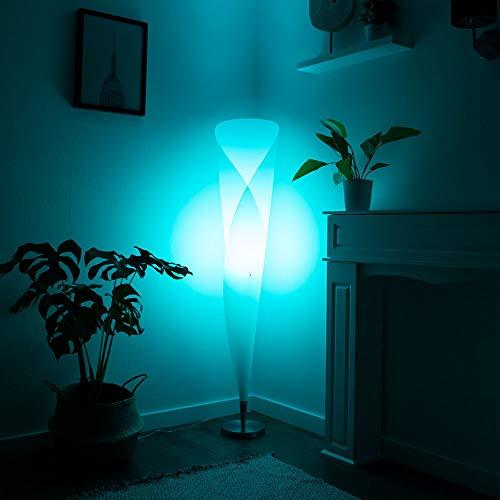 LED Design Steh Stand Lampe Leuchte Lese Beleuchtung Höhe 144cm inkl. RGB FERNBEDIENUNG dimmbar FarbwechslerWohn Schlaf Ess Zimmer