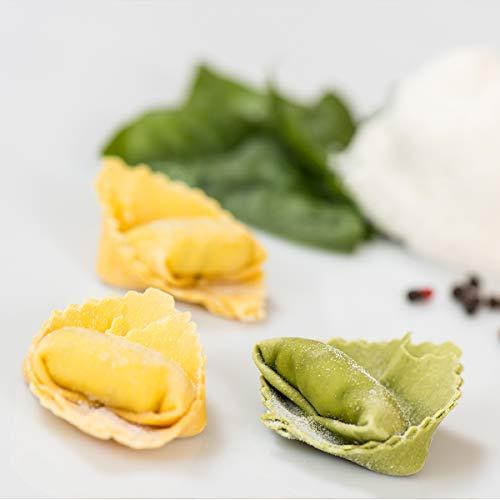 FONTANETO Ravioli Tortelloni Gefüllt mit Ricotta, Grana Padano und Spinat (80~ x 12 g = 1 kg), frische Nudeln, gefüllte Nudeln, typisch italienisches Gericht, hochwertige Zutaten
