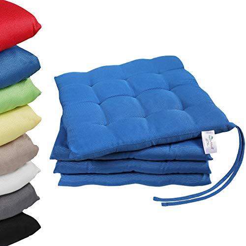 NatureMark 4er Set Stuhlkissen mit Bändern Gr. 40x40 cm Sitzkissen gefüllt, Royal blau