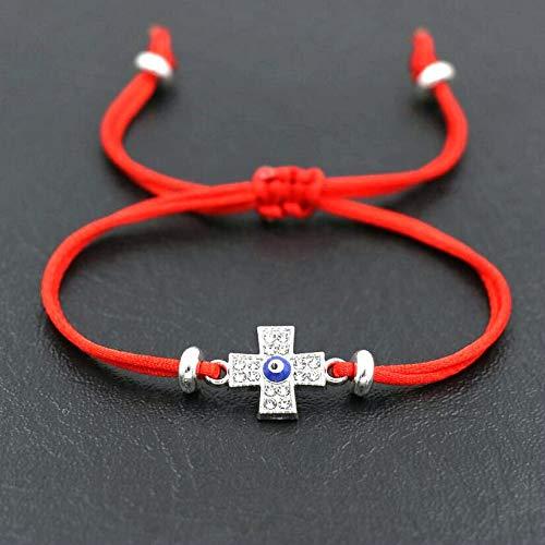 Pulsera de color plateado con circonita cúbica para hombre, con cruz de ojo y cruz roja, para mujeres, parejas, amantes de la suerte, regalo de la suerte (color de metal: cruces de cuerda roja)