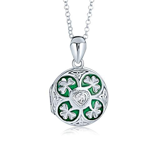 Lucky Green Enamel Shamrock Clover Round Celtic Irish Two Photo Round Locket For Women That Hold Pictures Necklace