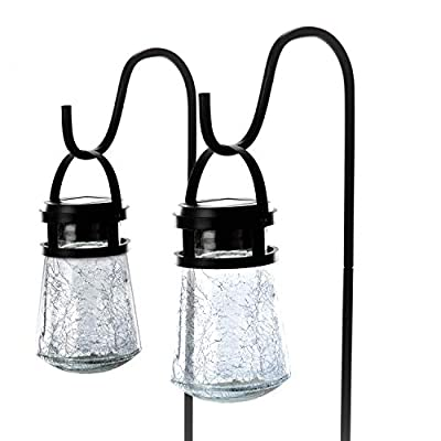 crackle glass solar lights with shepherd hooks