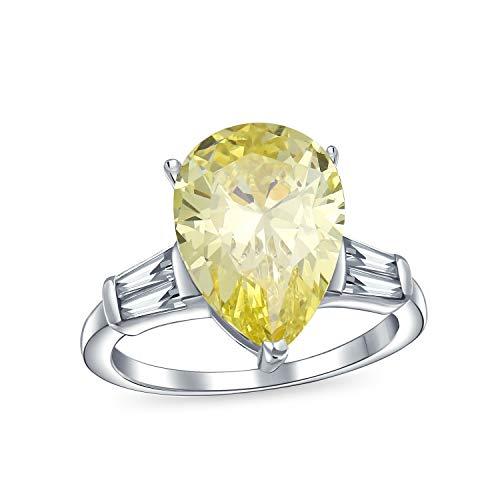 Boda nupcial 7CT Cubic Zirconia 925 plata esterlina plata canaria amarillo solitario lágrima brillante corte baguette piezas laterales AAA CZ pera forma declaración anillo de compromiso