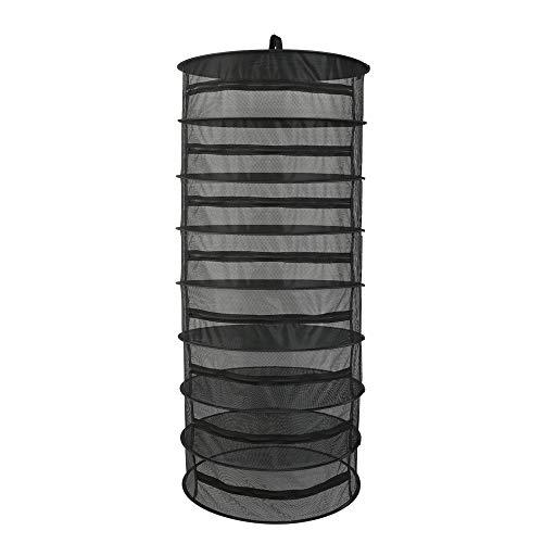 Blusea Trocknungsnetz, 6/8 Schichten, für Pflanzen, zum Trocknen von Kräutern, zum Aufhängen, faltbar, Netzgewebe mit Reißverschluss Black 6-Layer (Black 8-Layer)