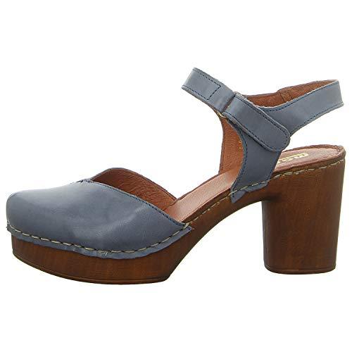 Manitu 910995 Damen Plateau Sandalen Sandaletten, Schuhgröße:42 EU, Farbe:Blau