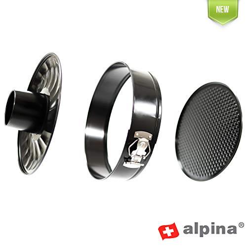 Alpina Backform Set 3-teilig, Springform 26 cm rund, Rohrboden Einsatz und Flachboden, Inkl. Antihaftbeschichtung und Tortenring verstellbar, ideale Kuchenform für jeden Einsatz
