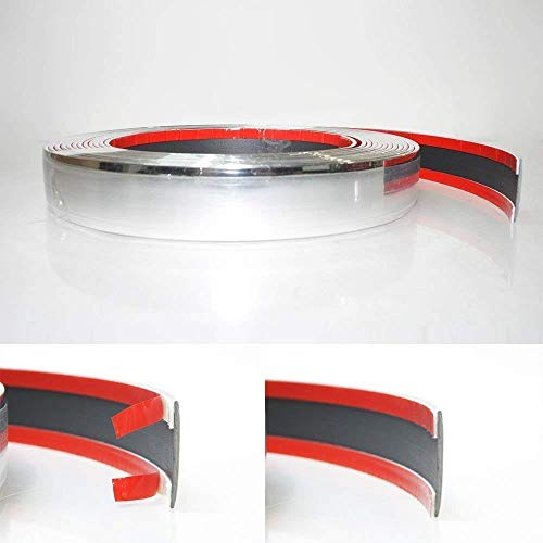30mm x 5 meter Chrom Zierleiste Leisten Chromleiste Selbstklebend Flexibel Kunststoff Tuning