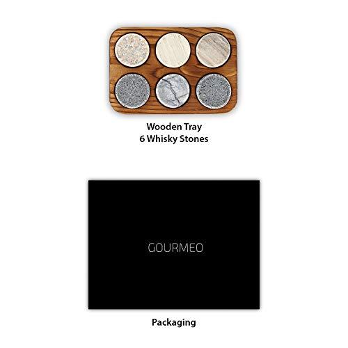 GOURMEO Whisky Steine (6 Stück) aus Marmor und Granit I wiederverwendbare Eiswürfel, Whiskysteine, Whisky Stones, Kühlsteine - 6