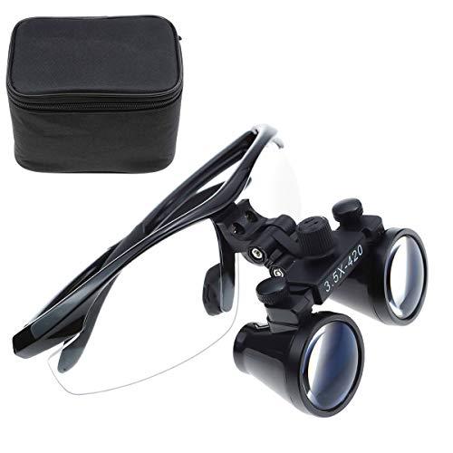 TopSeller歯科 拡大鏡 双眼ルーペ メガネ式拡大鏡 3.5倍拡大鏡 420mm 光学拡大鏡 光学ルーペ 虫眼鏡 軽量 デンタル用 実験室用 研究用ルーペ 技工用 収納ボックス付き ケース付き 携帯便利 (黒)