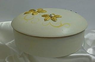 Portagioie, svuota tasche in ceramica linea fiori dorati e diamanti.