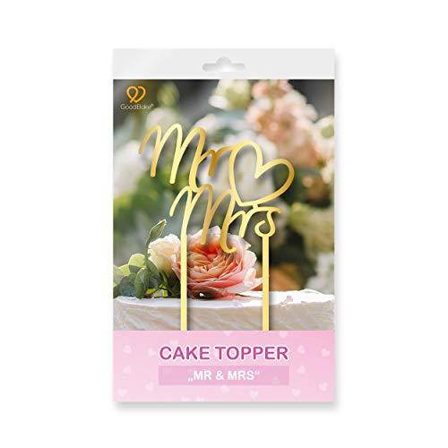 """GoodBake Cake Topper – """"Mr & Mrs"""" – gold – Torten-Deko / Kuchen-Deko – Tortenaufleger, perfekt zum Dekorieren zur Heirat, Hochzeit, Verlobung uvm!"""