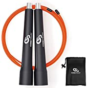 Coresteady Speed Rope - Adjustable Pro Skipping Rope - Ideal for Fat Burning Exercises, HIIT Training, Crossfit, MMA, Boxing, Conditioning & Weight Loss (BLACK/ORANGE)