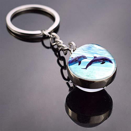 gancunsh Schlüsselanhänger, Meerestiere, Schildkröte, Seestern, Hai, Quallen, Delfin-Muster, doppelseitig Siehe 3