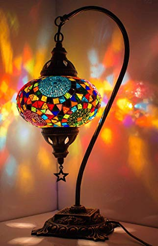 New BOSPHORUS Stunning Handmade Swan Neck Turkish Moroccan Mosaic Glass Table Desk Bedside Lamp Light with Bronze Base (Multi-colored)