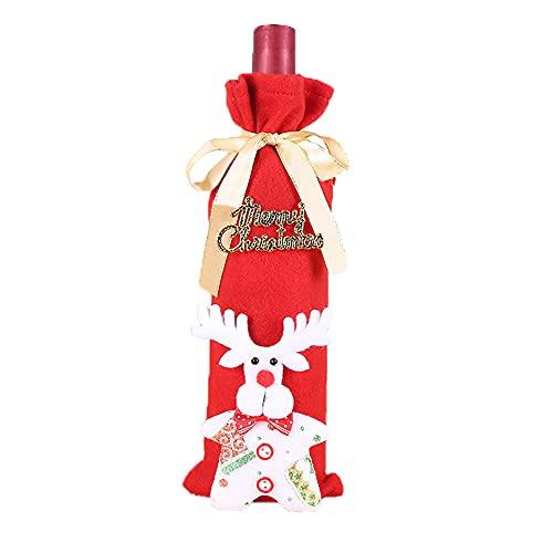 Warmdeco Cubiertas de Botellas de Vino de Navidad Vestido de Navidad Bolsa Tejida de Papá Noel Cubierta de champán Decoración de Mesa de Fiesta en casa Rojo