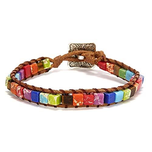 Trendy Multiple Types Ethnic Style Leather Bracelet Seven Chakra Stone Hand Woven Bohemia Winding Couple Bracelet