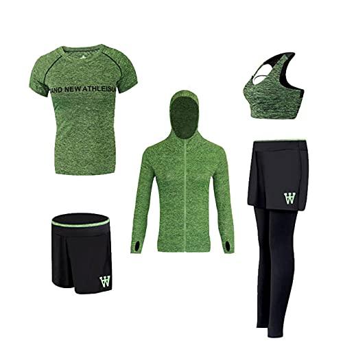 Sportkleding voor dames, yogakleding, trainingskleding, hardloopkleding, 5-delige pakken, fitnesskleding, zelfontplooiing voor dames, ademende sportpakken, hardlopen Sneldrogende kleding